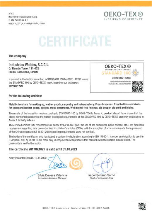 Certificado OEKO TEX eng