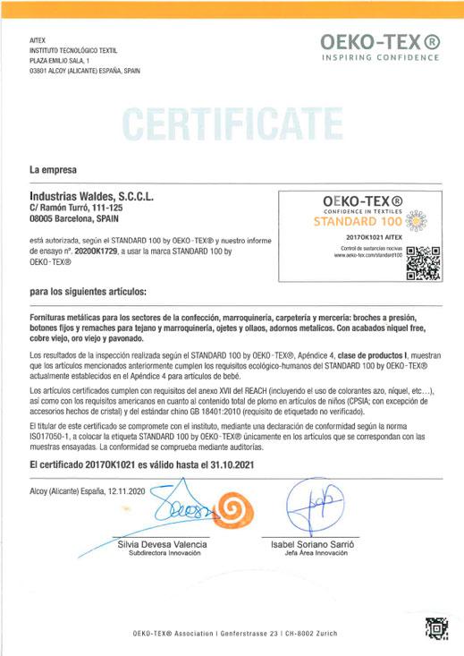 Certificado OEKO TEX es